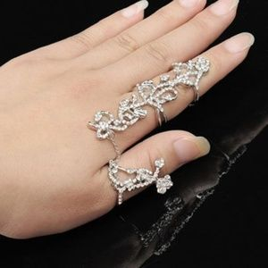 Adjustable Silver Rose Chain Link Slave Ring